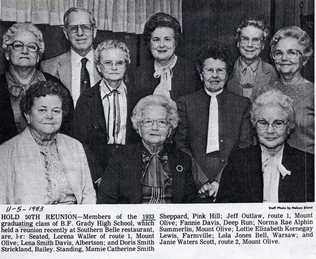 B.F. G. Class of 1933 reunion