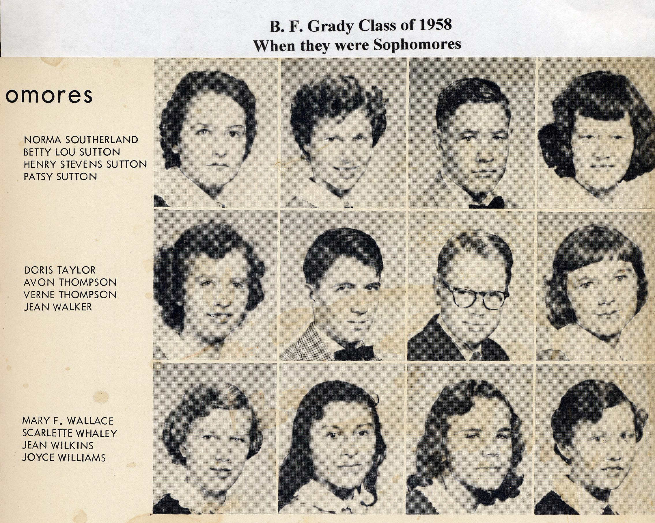 BFG Class of 1958 as Sopho p 5