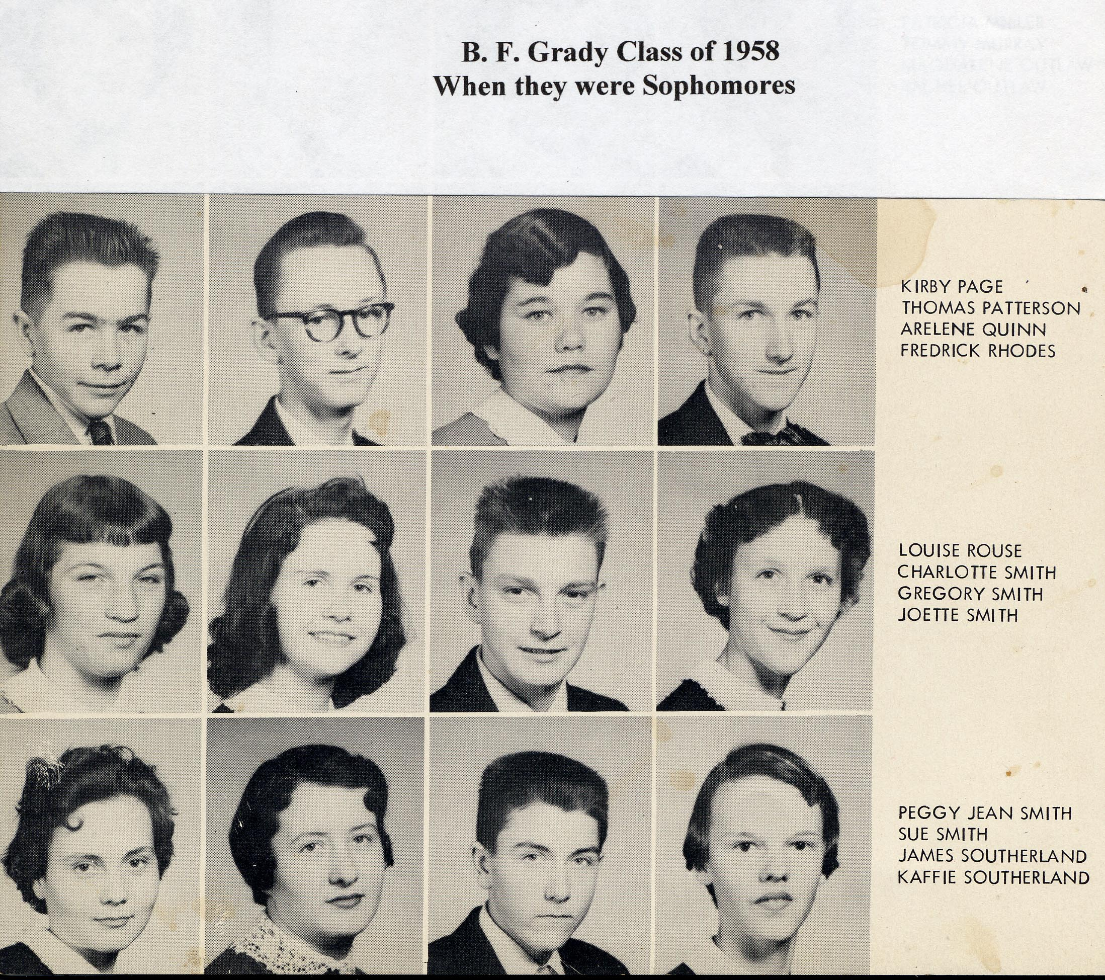 BGF Class of 1958 as  Sopho p 4