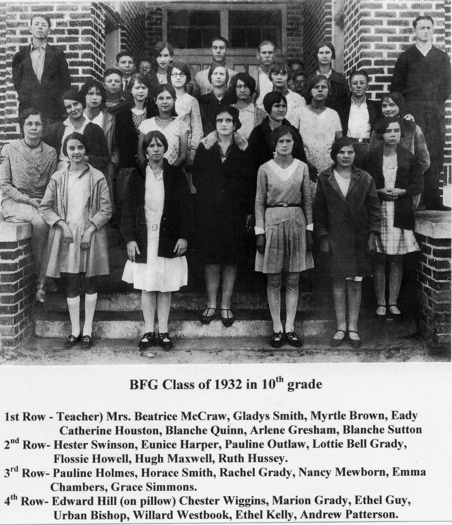 BFG Class of 1932 in 10th grade