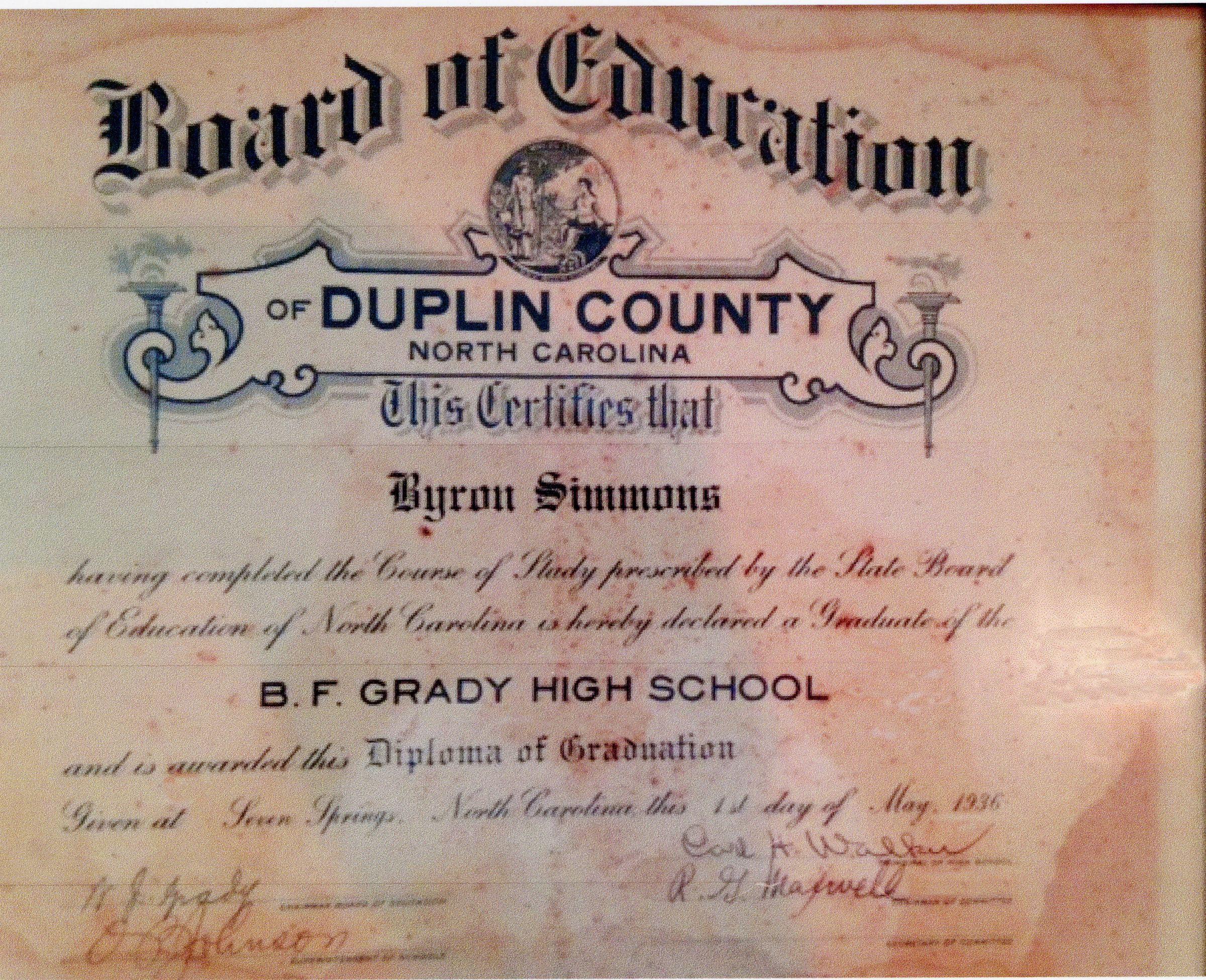 BFG 1936 Diploma